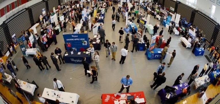 An aerial view of the Davenport career fair.